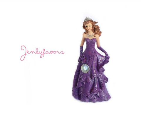 Mis Quince Anos Purple Cake Topper Doll with LED Light-up (1 Piece)