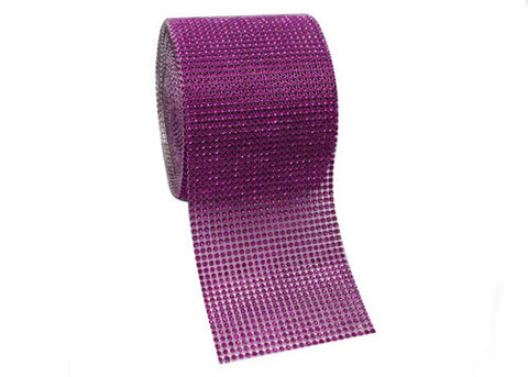 "4.5"" x 10 yards Rhinestone-Look Diamond Wrap Ribbon Purple (1 roll)"