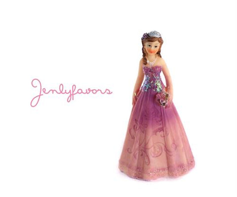 Mis Quince Anos and Sweet 16  4.5 inches Purple Cake Topper Doll (12 Pieces)