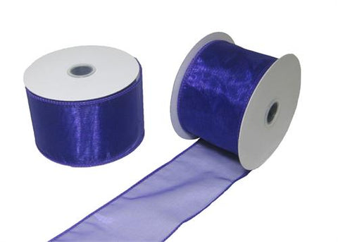 "2-1/2"" Organza Wired Ribbon Purple 10 Yards"