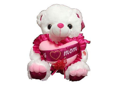 "15"" White Musical Teddy Bear with Pink ""I Love Mom"" Heart with Carnation(1 Piece)"