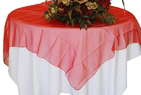 Red Organza Table Overlay 80 X 80 Square(1 Piece)