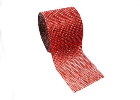 "4.5"" x 10 yards Rhinestone-Look Diamond Wrap Ribbon Red (1 roll)"