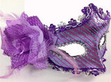 Handmade Lavender Venetian Mask with a rose