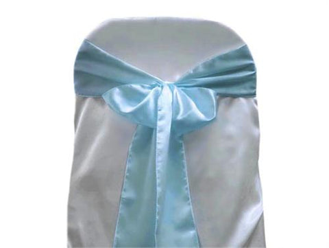 "6"" X 108"" Satin Chair Bow Blue(12 Pieces)"