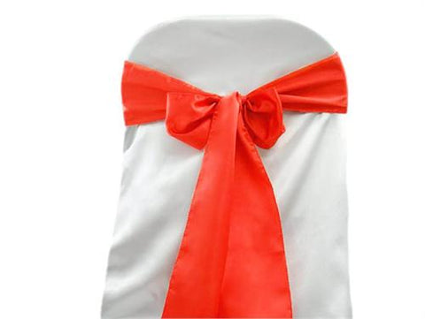 "6"" X 108"" Satin Chair Bow Coral(12 Pieces)"