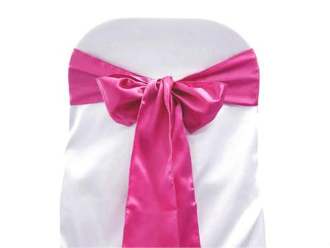 "6"" X 108"" Satin Chair Bow Fuchsia(12 Pieces)"