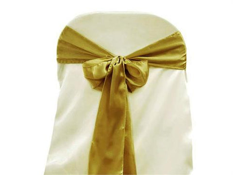 "6"" X 108"" Satin Chair Bow Gold(12 Pieces)"