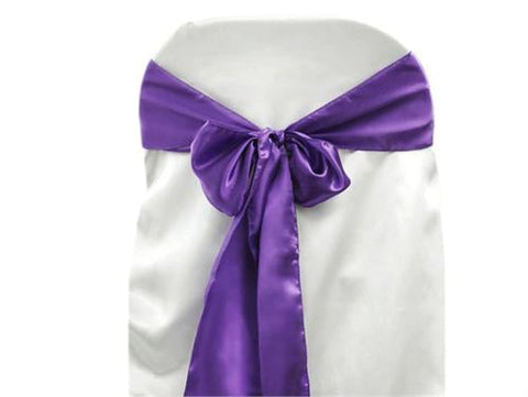 "6"" X 108"" Satin Chair Bow Purple(12 Pieces)"