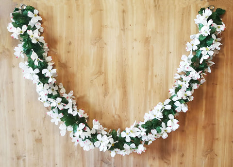 Artificial Dogwood Garland 6 feet White