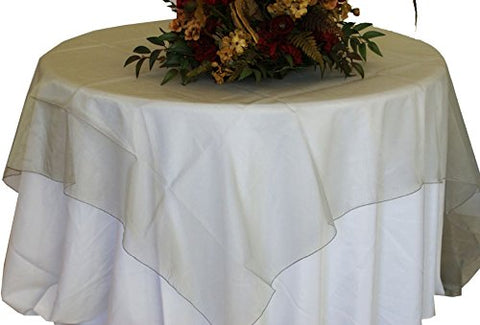 Silver Organza Table Overlay 80 X 80 Square(1 Piece)