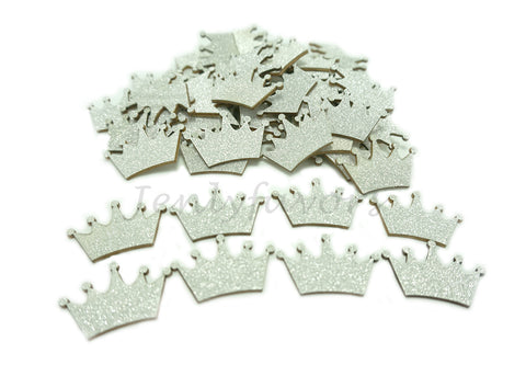 Silver Glitter Wood Crown (100 Pieces)