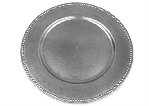 "13"" Silver Beaded Charger Plate (12 Pieces)"