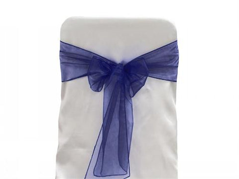 9 x 10 Ft Organza Chair Bows/Sashes Navy (12 pieces)
