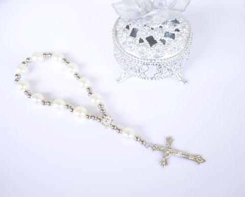 Baptism Favors 7 Inch Mini Rosary Pearl Beads with Silver Plated Accents (12 Pieces)