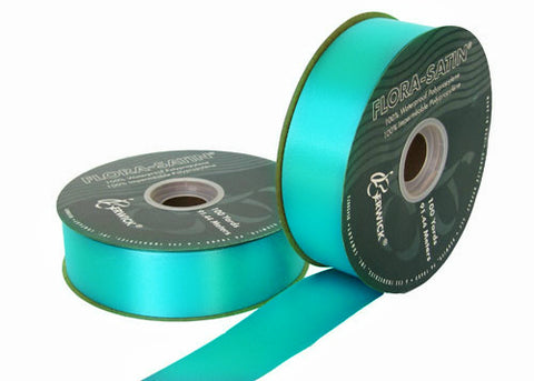 "#9 Turquoise Flora Satin Ribbon 1- 7/16"" X 100 Yards(1 Roll)"