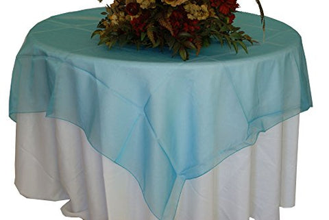 Turquoise Organza Table Overlay 80 X 80 Square(1 Piece)