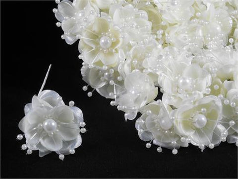 Organza and Satin Flower with Pearl Spray Ivory(72 Flowers)
