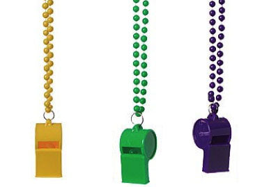 Whistle Necklaces-36Pcs(Purple, Yellow, Green)