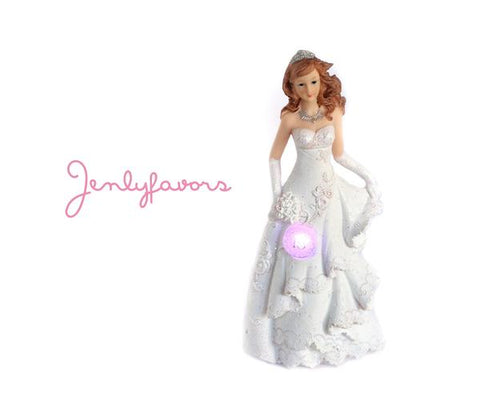 Mis Quince Anos White Cake Topper Doll with LED Light-up (1 Piece)