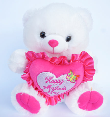 "12"" White Musical Teddy Bear with ""Happy Mother's Day"" Heart (12 Pieces)"