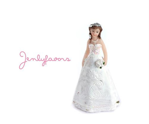 Mis Quince Anos and Sweet 16  4.5 inches White Cake Topper Doll (12 Pieces)