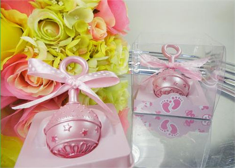 Baby Rattle  - Baby Shower Favor Pink - 12 pcs