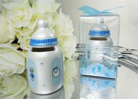 Mini Bottle-Bank - Baby Shower Favor Blue 12 pcs