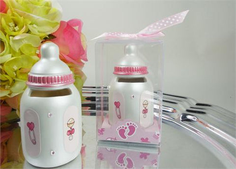 Mini Bottle-Bank - Baby Shower Favor Pink 12 pcs