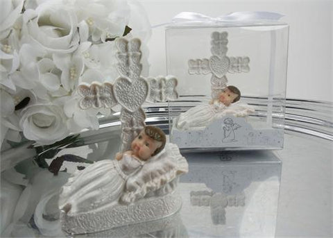 Baby Girl Baptism Favor with Cross - 12 pcs