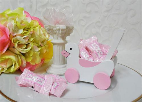 Wooden Duck Car - Baby Shower Pink - 1 Doz