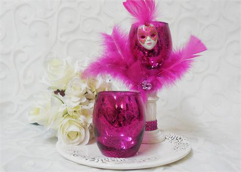 "3 3/4"" Fuschia Chrome Crackled Votive Holders - 1 Doz"
