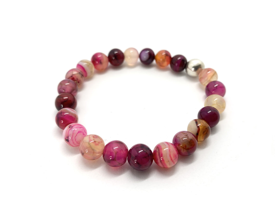 Pink and Purple Agate Natural Stone Bracelet