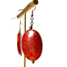 Natural Fossil Stone in Red Earrings