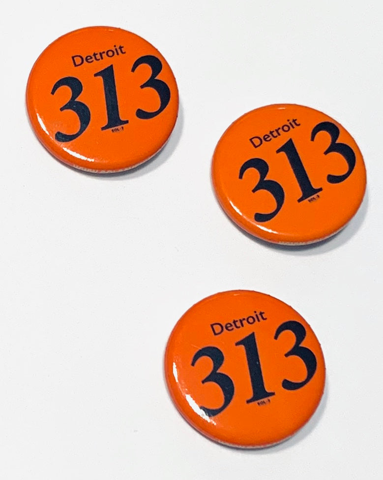 313 Detroit Round Button