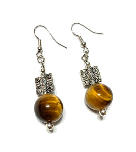 Large Bead Tiger Eye Earrings