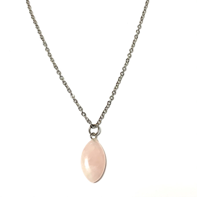Rose Quartz Tear Drop Necklace