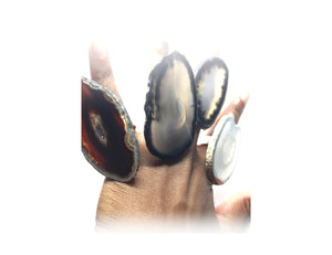 Bold & Beautiful Agate Trim Noir Ring