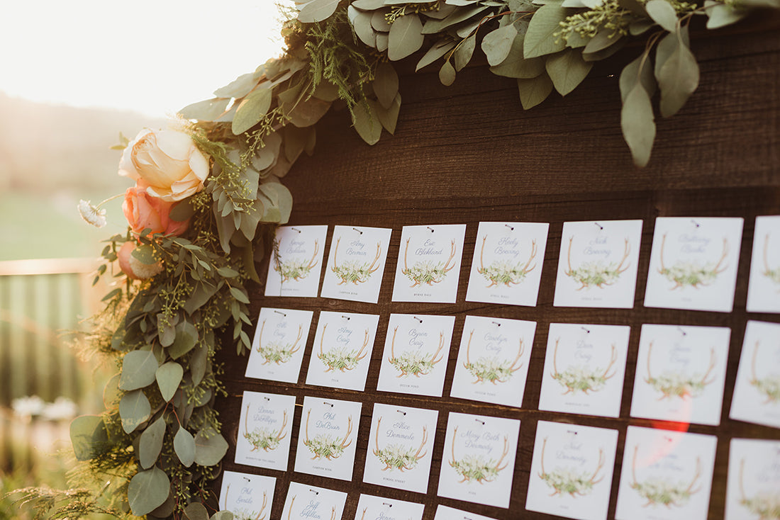 Antler and Greenery Escort Card Display