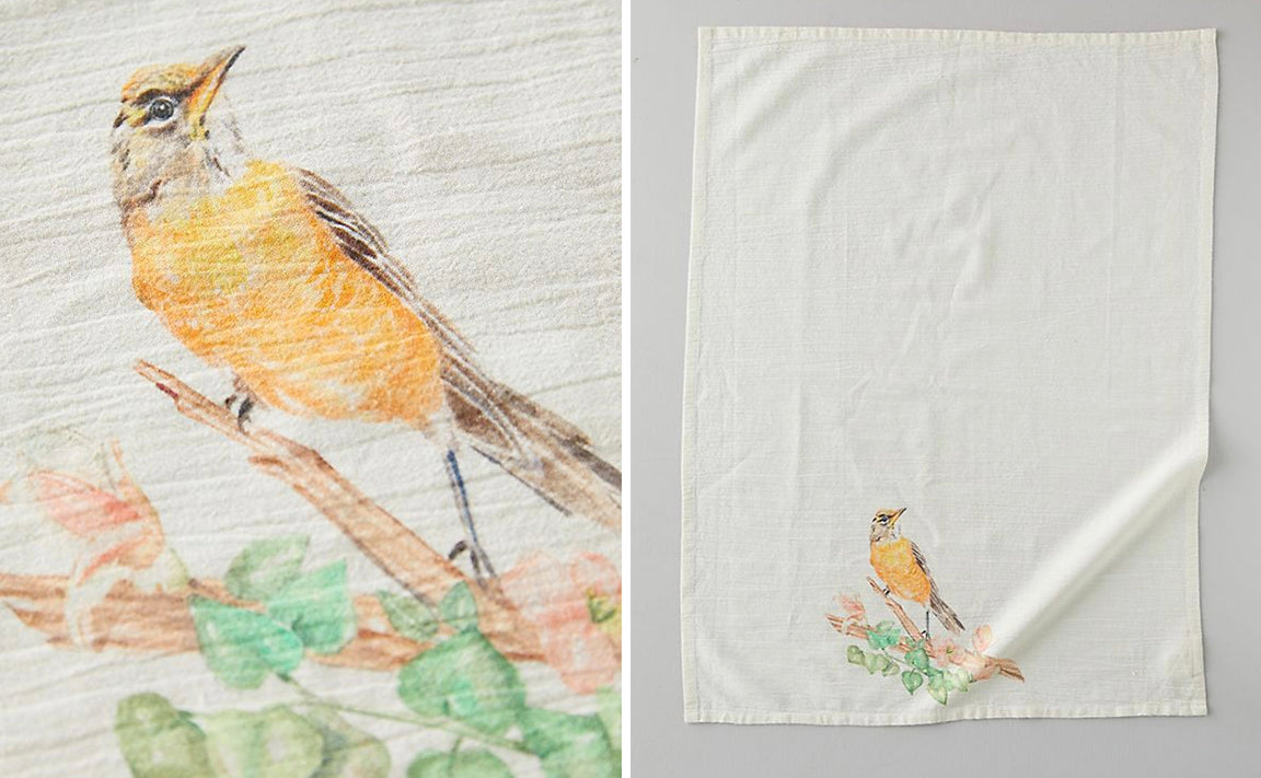 Botanic Bird Watercolor Tea Towel for Anthropologie