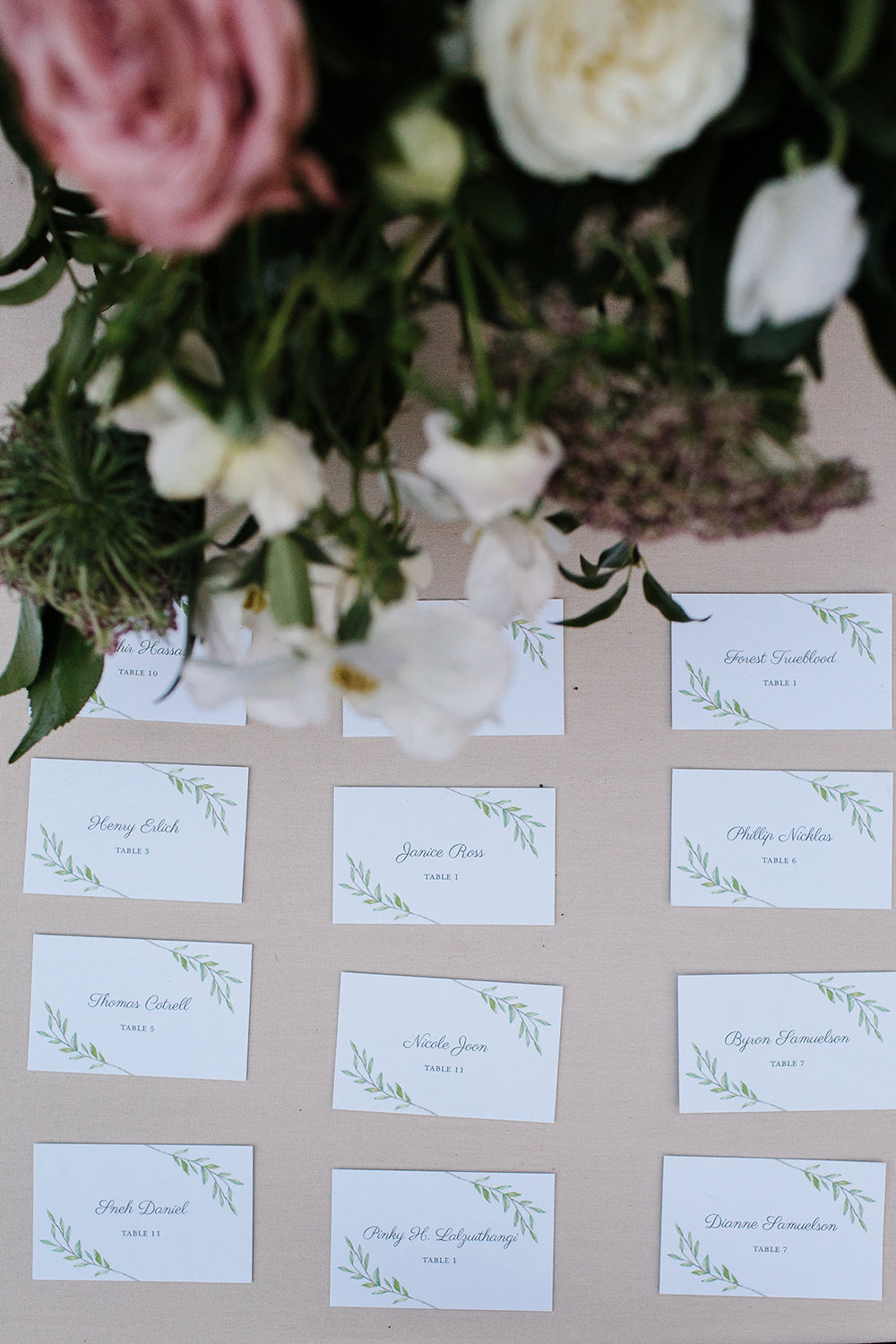 Greenery escort cards illustrated by Lana's Shop