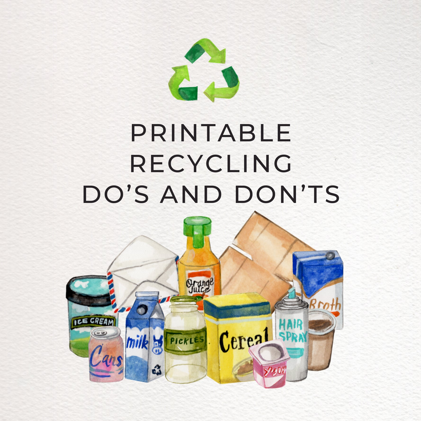 Printable Recycling Do's and Don'ts