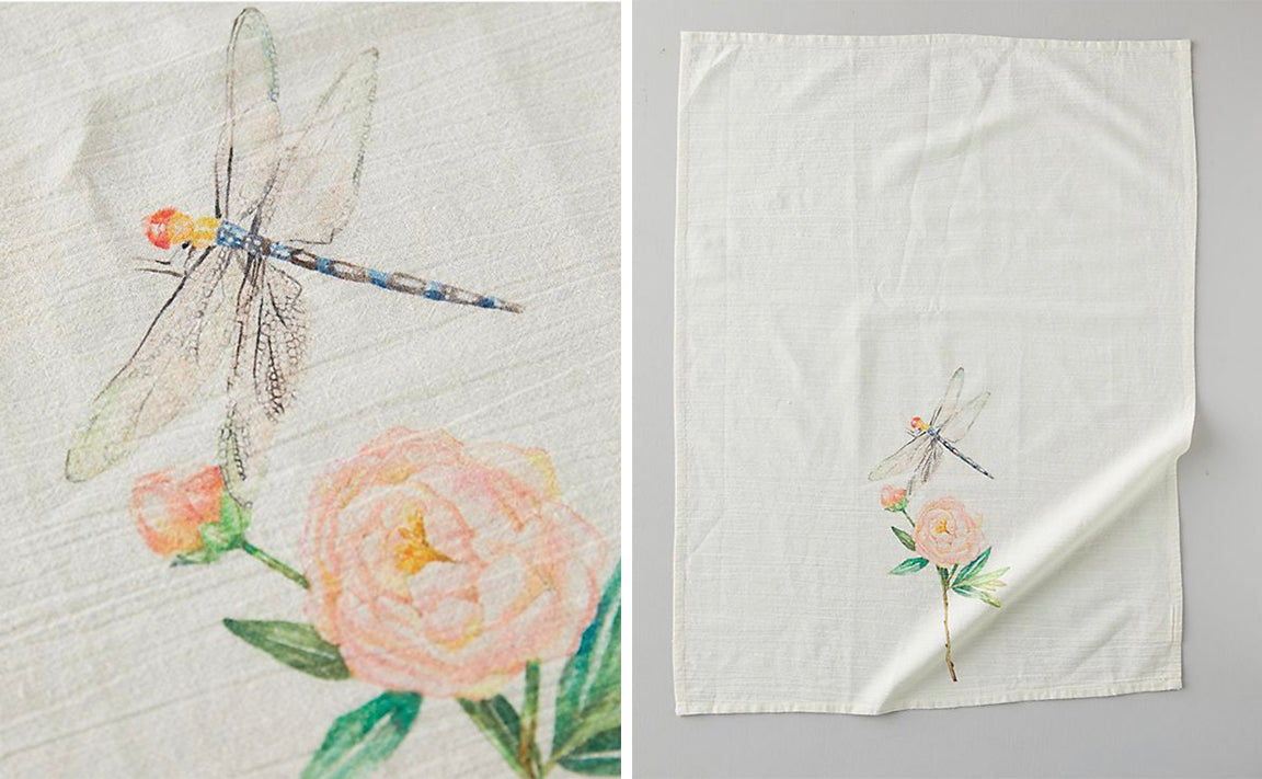 Dragonfly Botanic Watercolor Tea Towel for Anthropologie