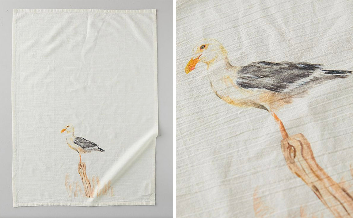 Watercolor Seagull Tea Towel for Anthropologie