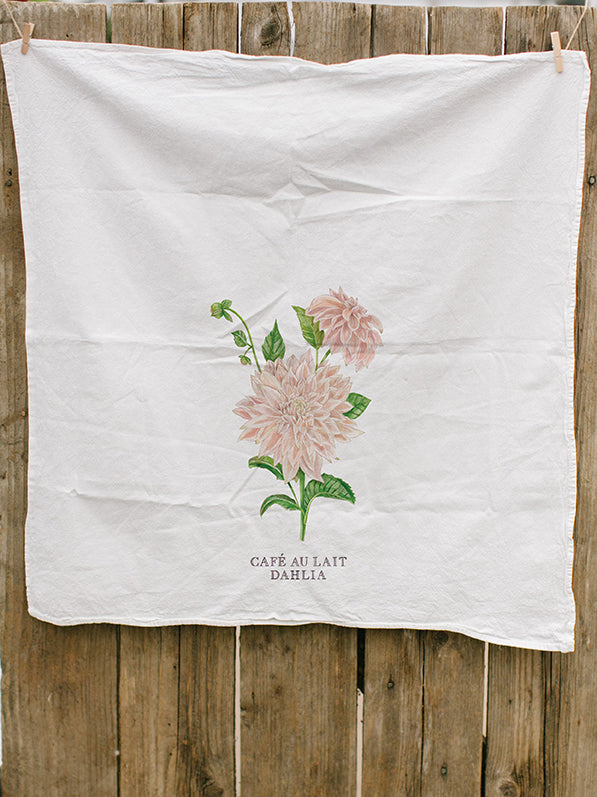 Dahlia Painted Tea Towel
