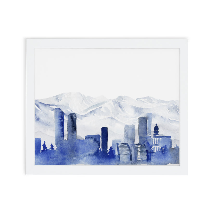 Denver Skyline Watercolor Art Print