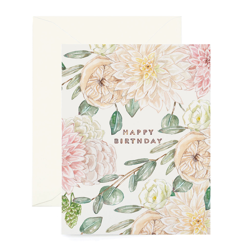 Garden Rose Birthday Card