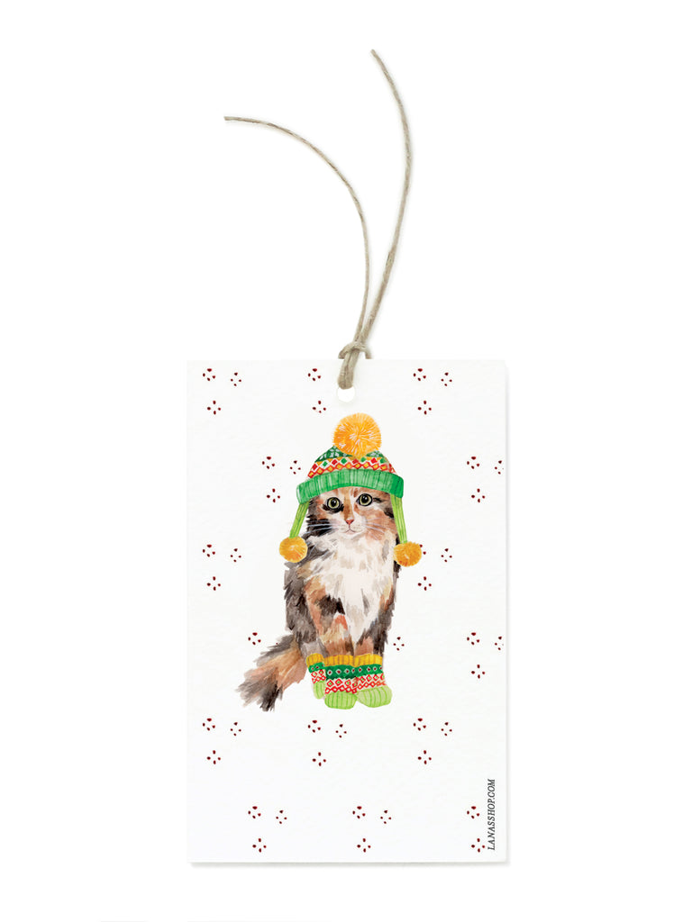 Calico Winter Cat Gift Tag Set