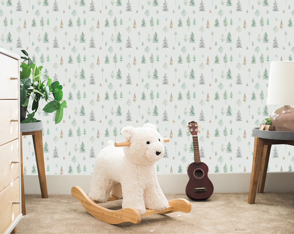Peaceful Forest Wallpaper in Sage Greens
