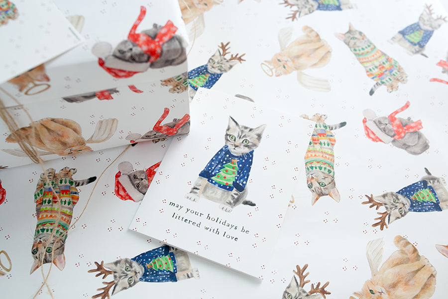Festive Cat Holiday Wrapping Bundle